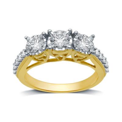 Womens 1 1/4 CT. T.W. Genuine White Diamond 10K Gold 3-Stone Engagement Ring