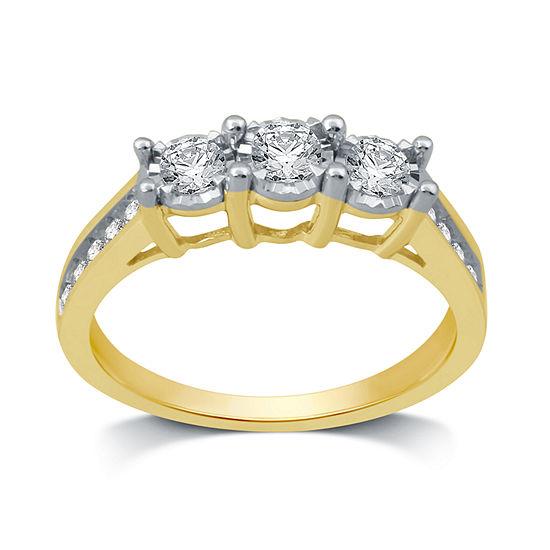 Womens 1/2 CT. T.W. Genuine White Diamond 10K Gold 3-Stone Band
