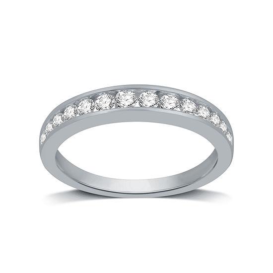 Womens 1/2 CT. T.W. Genuine White Diamond 14K White Gold Wedding Band