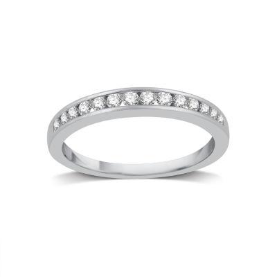Womens 1/4 CT. T.W. Genuine White Diamond 14K White Gold Wedding Band