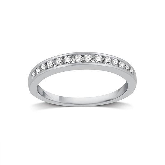 Womens 1 4 Ct Tw Genuine White Diamond 14k White Gold Wedding Band