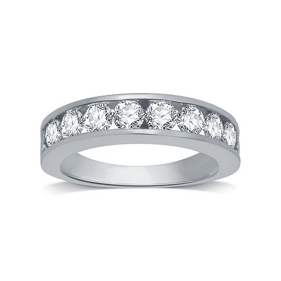 3MM 1 1/2 CT. T.W. Genuine White Diamond 14K White Gold Wedding Band