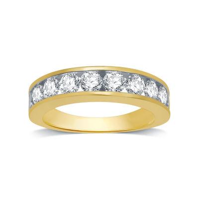 Womens 3MM 1 1/2 CT. T.W. Genuine White Diamond 14K Gold Wedding Band