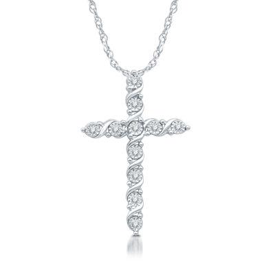 Womens 1/10 CT. T.W. Genuine Diamond Sterling Silver Cross Pendant Necklace