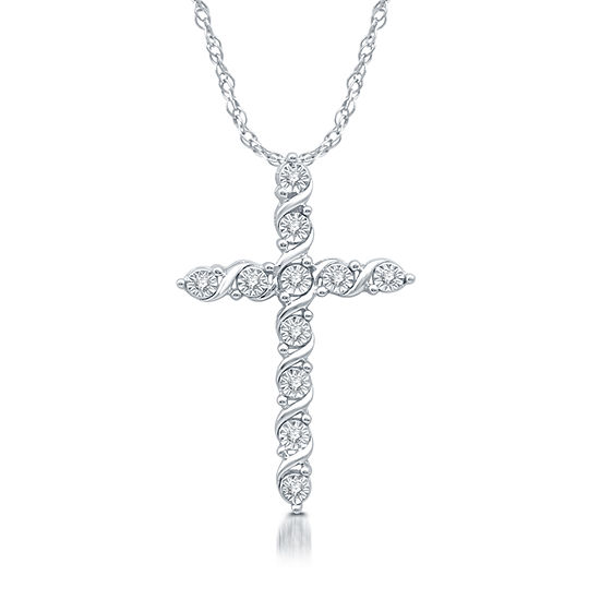 Womens 1/10 CT. T.W. Genuine Diamond Sterling Silver Cross Pendant Necklace