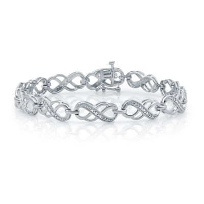 1/10 CT. T.W. Genuine Diamond 14K Rose Gold Over Silver Infinity 7.5 Inch Tennis Bracelet