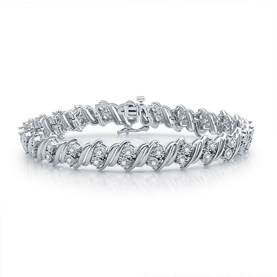 1 CT. T.W. Genuine Diamond Sterling Silver 7.5 Inch Tennis Bracelet
