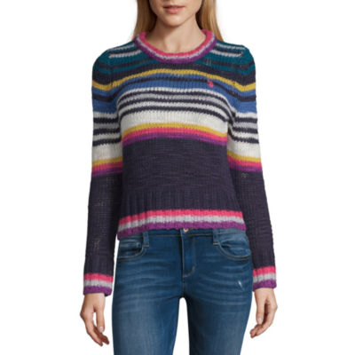 Us Polo Assn. Womens Crew Neck Long Sleeve Striped Pullover Sweater-Juniors