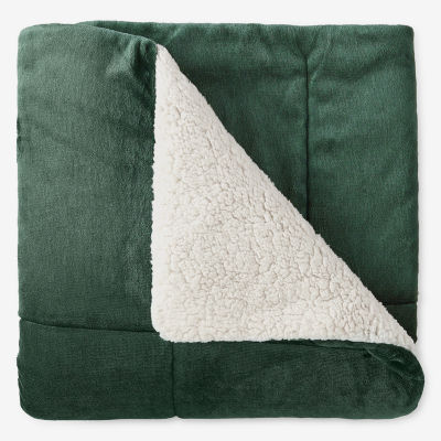 North Pole Trading Co Ultra Faux Mink Reverse to Faux Sherpa Throw