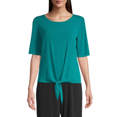 east 5th Womens Round Neck Short Sleeve Knit Blouse