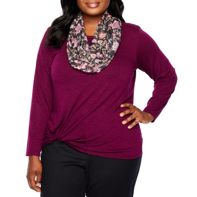 Alyx Long Sleeve Twist Front Knit Blouse with Scarf - Plus