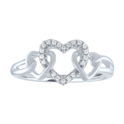 Womens Diamond Accent 10K White Gold Heart Ring