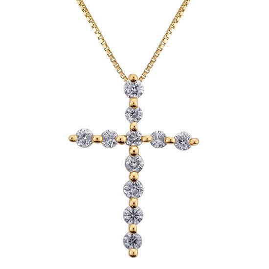 Womens 1/3 CT. T.W. Genuine White Diamond 14K Gold Cross Pendant Necklace