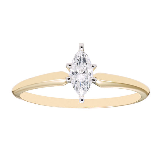 ¼ CT. Marquise Solitaire Diamond 14K Yellow Gold Ring