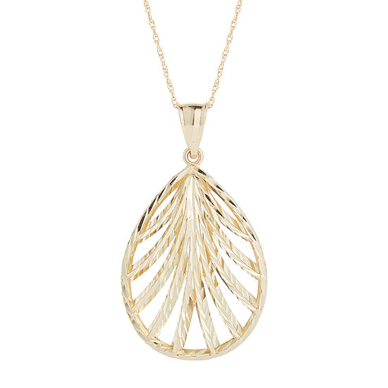 Womens 14K Gold Pear Pendant Necklace