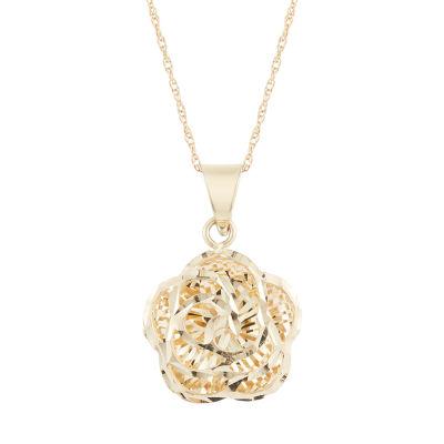 Womens 14K Gold Flower Pendant Necklace