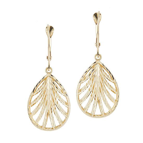 14K Gold Flower Drop Earrings