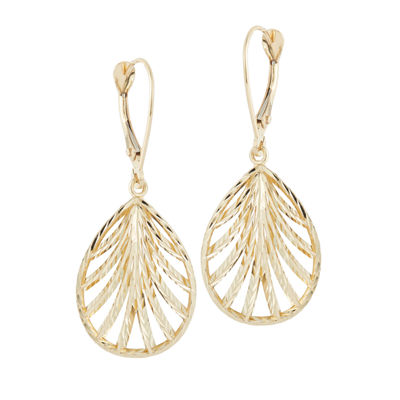 14K Gold Flower Drop Earrings
