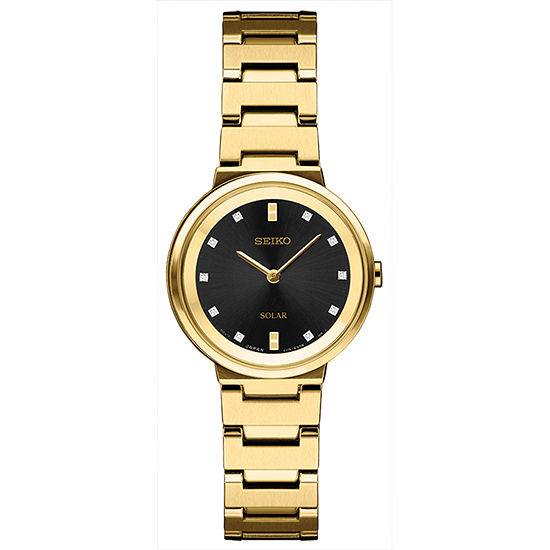 Seiko Womens Gold Tone Stainless Steel Bracelet Watch-Sup396