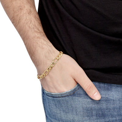 10K Gold 9 Inch Hollow Figaro Chain Bracelet