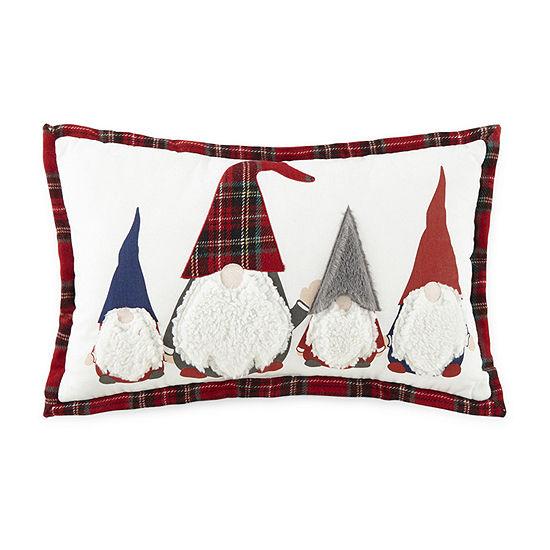 North Pole Trading Co. Gray Hat Gnomes Plaid Rectangular Throw Pillow