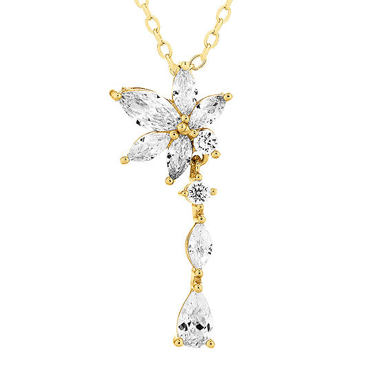 Diamonart Womens 1 1/3 CT. T.W. White Cubic Zirconia 14K Gold Over Silver Pear Pendant Necklace