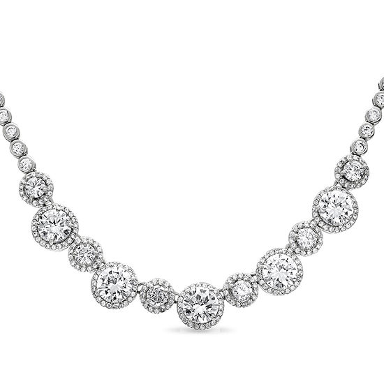 Diamonart Womens White Cubic Zirconia Sterling Silver Round Statement Necklace