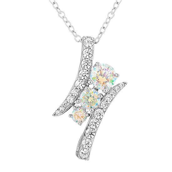 Diamonart Preciosa Aurora Borealis Womens 2 1/5 CT. T.W. White Cubic Zirconia Sterling Silver Curved Pendant Necklace