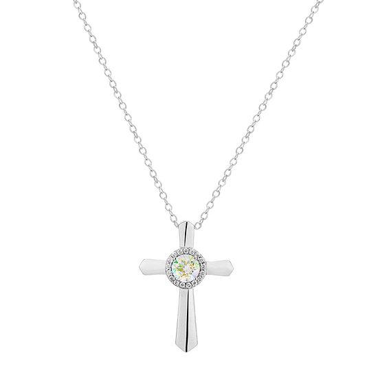 Diamonart Preciosa Aurora Borealis Womens 3/4 CT. T.W. White Cubic Zirconia Sterling Silver Cross Pendant Necklace
