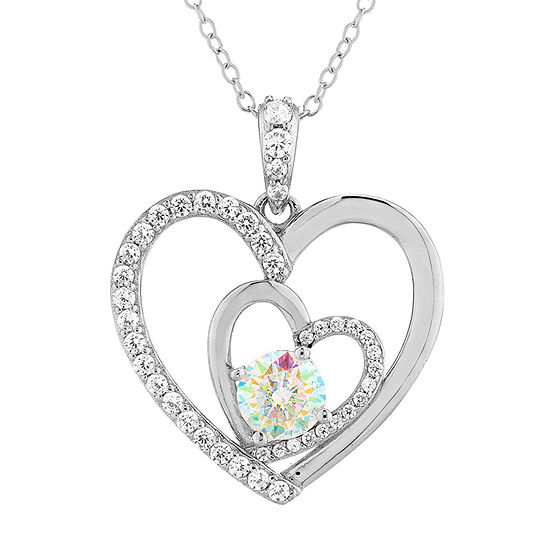 Diamonart Womens 1 7/8 CT. T.W. White Cubic Zirconia Sterling Silver Heart Pendant Necklace