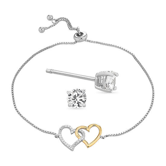 Diamonart 1 1/10 CT. T.W.  White Cubic Zirconia Sterling Silver Heart 2-pc. Jewelry Set