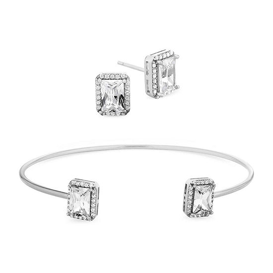 Diamonart White Cubic Zirconia Sterling Silver Square 2-pc. Jewelry Set