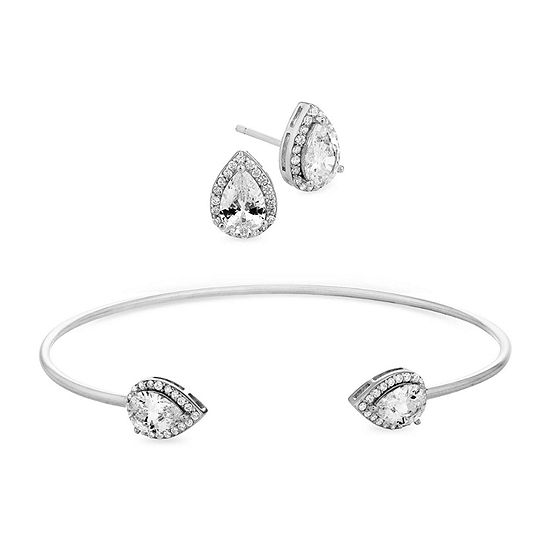 Diamonart 5 1/2 CT. T.W. White Cubic Zirconia Sterling Silver Pear 2-pc. Jewelry Set