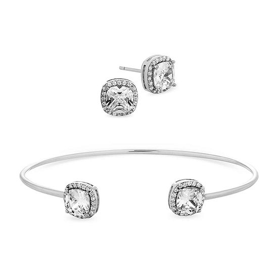 Diamonart 6 CT. T.W. White Cubic Zirconia Sterling Silver Square 2-pc. Jewelry Set