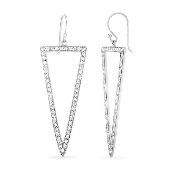 Diamonart 3 1/4 CT. T.W. White Cubic Zirconia Sterling Silver Triangle Drop Earrings