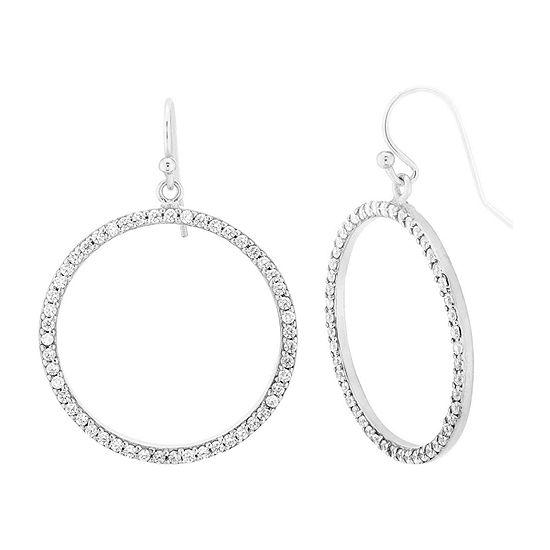 Diamonart 1 1/2 CT. T.W. White Cubic Zirconia Sterling Silver Round Drop Earrings