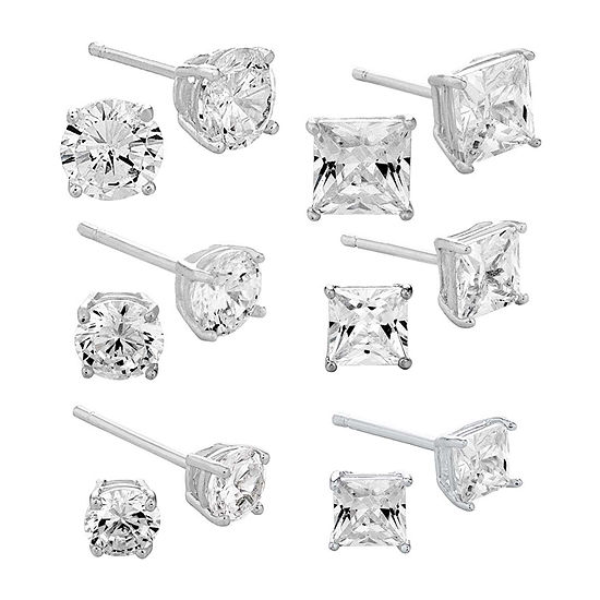 Diamonart White Cubic Zirconia Sterling Silver Round 6 Pair Jewelry Set
