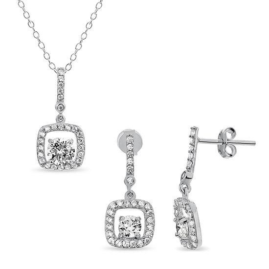 Diamonart 3 1/4 CT. T.W. White Cubic Zirconia Sterling Silver Square 2-pc. Jewelry Set