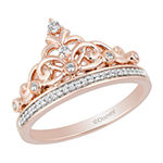 Enchanted Disney Fine Jewelry Womens 1/6 CT. T.W. Genuine Diamond 10K Rose Gold Over Silver Crown Disney Princess Cocktail Ring