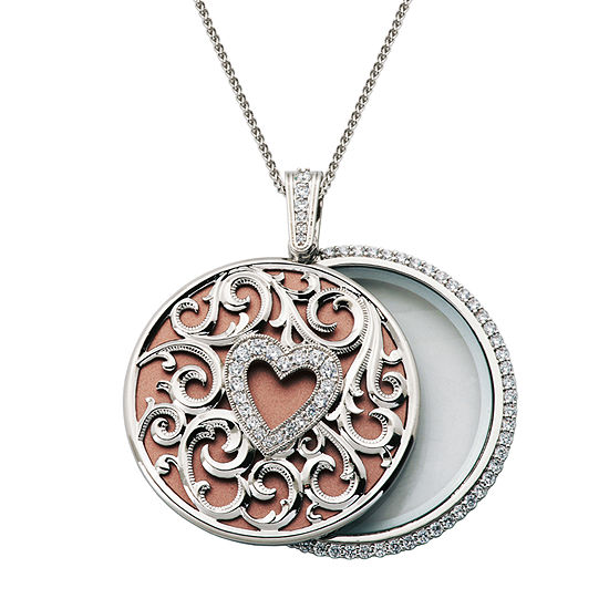 Magnifying Womens 2 3/4 CT. T.W. Cubic Zirconia Pure Silver Over Brass Heart Pendant Necklace