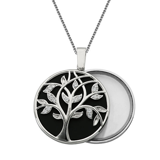 Magnifying Womens 3/4 CT. T.W. Cubic Zirconia Pure Silver Over Brass Flower Pendant Necklace