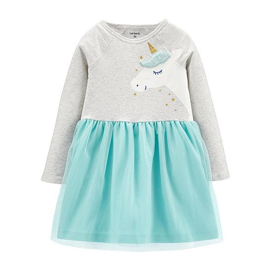Carter's Girls Long Sleeve A-Line Dress - Toddler