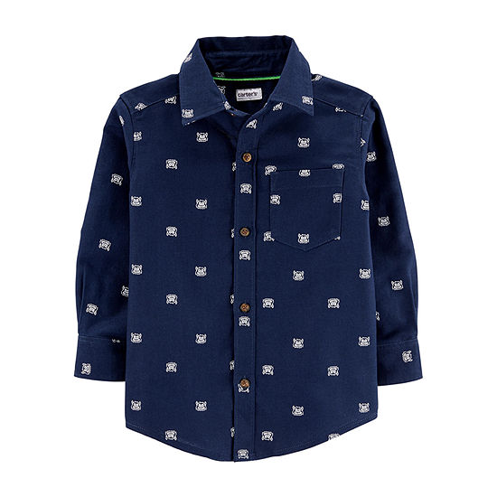 Carter's Boys Long Sleeve Button-Front Shirt Toddler