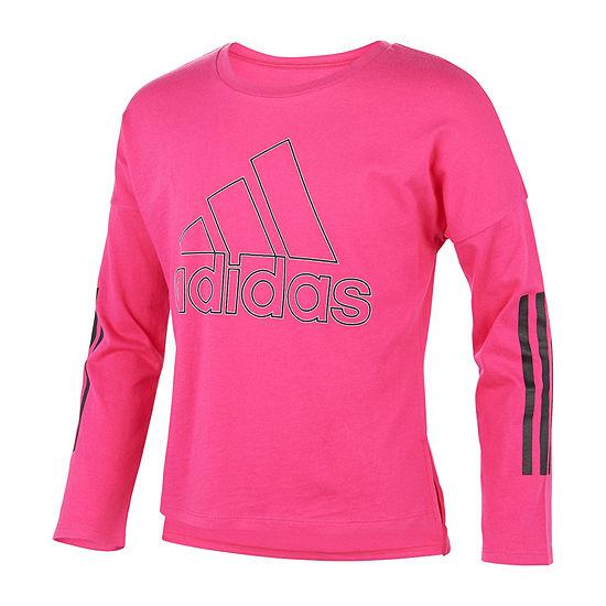 adidas Girls Round Neck Long Sleeve Graphic T-Shirt - Big Kid