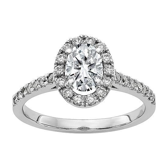 True Light Womens 1 1/4 CT. T.W. Lab Created White Moissanite 14K White Gold Halo Engagement Ring