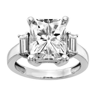 True Light Womens 4 CT. T.W. Lab Created White Moissanite 14K White Gold Engagement Ring
