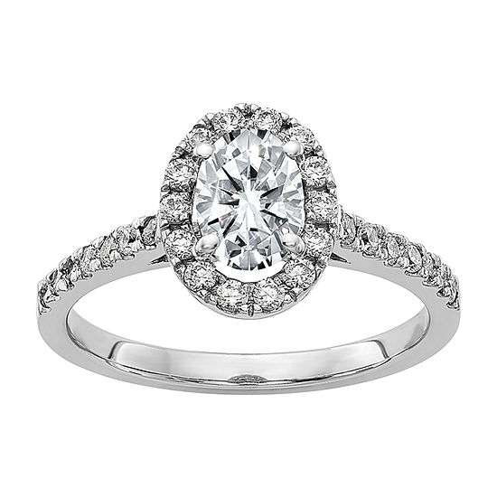 True Light Womens 5 CT. T.W. Lab Created White Moissanite 14K White Gold Halo Engagement Ring