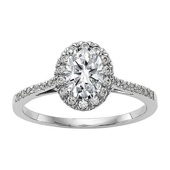 True Light Womens 2 1/5 CT. T.W. Lab Created White Moissanite 14K White Gold Halo Engagement Ring