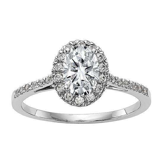 True Light Womens 3 3/4 CT. T.W. Lab Created White Moissanite 14K White Gold Halo Engagement Ring