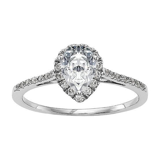True Light Womens 2 1/3 CT. T.W. Lab Created White Moissanite 14K White Gold Halo Engagement Ring